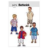 Butterick Patterns B3475 Size 2-3-4-5 Boys Shirt/Shorts, Pack of 1, White