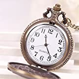 JaneDream Antique Bronze Motorcycle Pattern Quartz Pocket Watch Long Chain