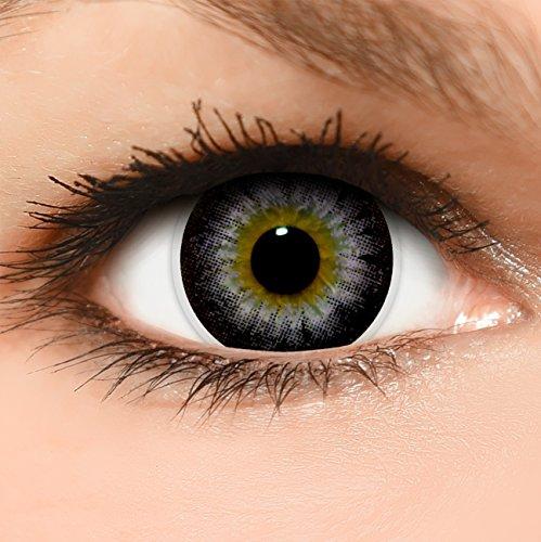 Linsenfinder Lenzera Circle Lenses lilane 'Circle Violet' ohne und mit Stärke + Kombilösung + Behälter 14,50mm farbige Kontaktlinsen