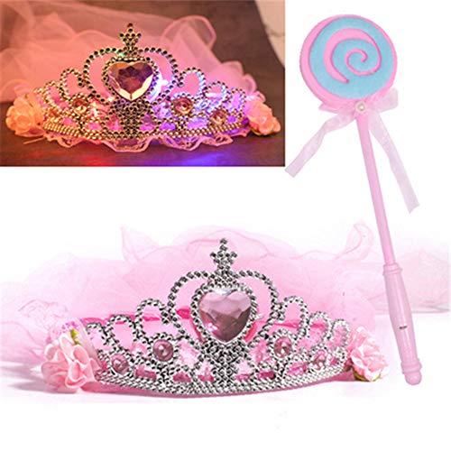 ZjkMr Halloween Kindermaske Damen Prom Princess Girl Crown Veil Festliche Party Dress Up Makeup Maske Halbes Gesicht + Glow Veil + Glowing Lollipop + Princess Mask (9 Option)