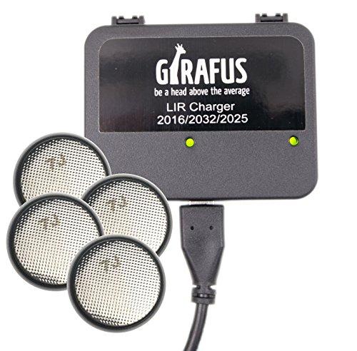 Girafus Knopfzellen Ladegerät für LIR-2032/2016 2025 Akkus USB Batterieladegerät Inklusive 4X LiR2032 3.7Volt Akkus (ersetzen CR2032 Batterien) Akkuladegerät