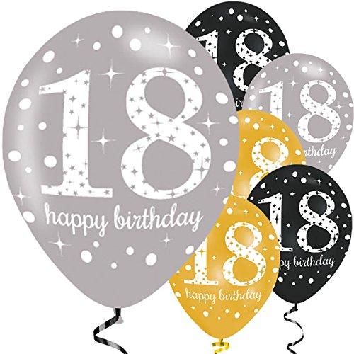 Feste Feiern Geburtstagsdeko Zum 18 Geburtstag I 6 Teile Luftballons Gold Schwarz Silber Party Set Happy Birthday (6 Teile)