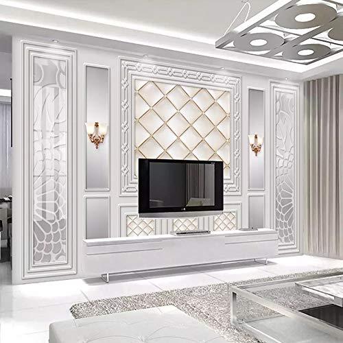 Fototapeten Benutzerdefinierte Fototapete Tapete Europäischen Stil 3D Geprägte Leder Weiche Tasche Wohnzimmer Sofa Tv Hintergrund Wand Vliestapete, 350 Cm X 245 Cm (137.8 By 96,5 In) - Stil-leder-sofa