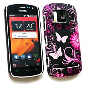 Emartbuy® Nokia PureView 808 Pink Garden Clip On Protection Case/Cover/Skin