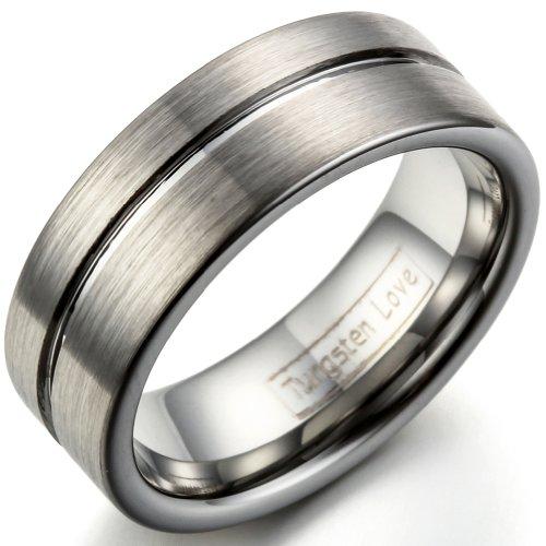 JewelryWe Schmuck Wolframcarbid gravierbarer Ring, 8mm Breite Bandring Eheringe Verlobungsringe für Damen & Herren