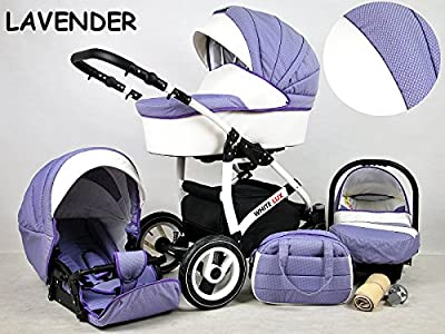 Kinderwagen whitelux, 3 in 1- Set Wanne Buggy Babyschale lavender