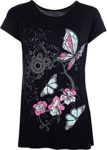 New Womens Plus Size Butterfly Print Short Sleeve T - Navy Blue - 14-16