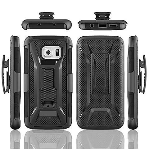 Galaxy S7 Edge Coque,Lantier Armure Heavy Duty Robot Defender militaire antichoc ceinture noire haut de gamme de Clip Holster Béquille Bumper pour Samsung Galasy S7 Edge Noir