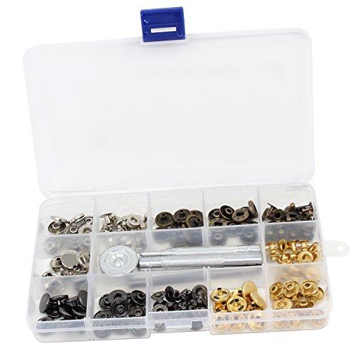 comprare on line KEESIN 40 set bottoni a pressione bottoni chiusura bottoni cucito abbigliamento Snaps Button con kit di attrezzi di fissaggio per tessuto borsetta Craft prezzo
