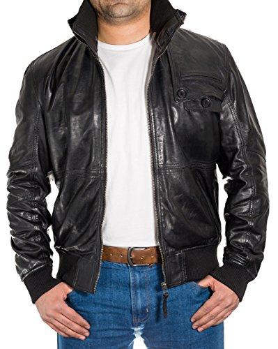Mens 100% cuir Slim Fit Blouson avec un collier Žlastique dŽtachable Noir