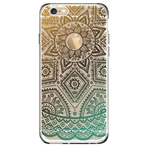 iPhone 6S Plus Hülle, iPhone 6 Plus Hülle, SpiritSun Transparent Schutzhülle für Apple iPhone 6 6S Plus (5.5 Zoll) PC Hart Handyhülle Extrem Dünne Bumper Cover mit Tribal Muster - Bunt Lotus Blume Z-Grün Sonne Aztec Floral