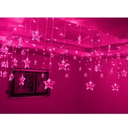 8 Modi 8M x 0,75m 192 PC LED und 48 Fünf spitzer Sternform Leds Indoor Outdoor Party Weihnachtsweihnachts Hotel Festival String Fairy Hochzeit Vorhang Licht (Rosa)