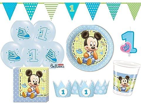 48-tlg. Partyset Mickey Baby 1. Geburtstag hellblau - für 8 Personen - Partygeschirr und Zubehör