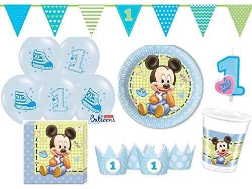 key Baby 1. Geburtstag hellblau - für 8 Personen - Partygeschirr und Zubehör ()