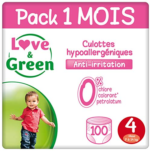 Love & Green Case Pack Couche Culottes Taille 4 (7-14 Kg) - Pack 1 Mois (100 Couches)