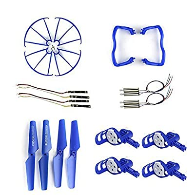 Coolplay® Syma X5 X5c Quadcopter Full Set Replacements Accessories Motors & Propellers & Landing Skid Protectors & Motor Base & Blade Frame for Syma RC Quadcopter (Blue)