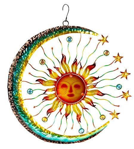 The Paragon Sun Face Accented by Stars and Moon Wandkunst, Glas, für Innen- und Außenbereich -