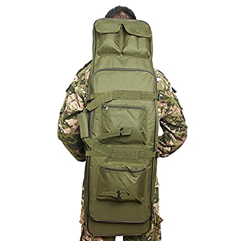 Airsson Tactical Rifle Gun Case Cover Soft Double Rifle Bag Backpack Storage with Shoulder Strap Magazine Pouch Nylon Waterproof (Olive Drab,