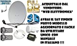 KIT COMPLETO SATELLITE:PARABOLA 60 CM+LNB+CAVO+STAFFA+SPINOTTI+FINDER