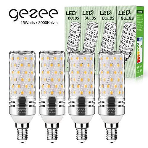 Gezee LED Silber Mais Glühbirnen E14 15W 120W Entspricht Glühbirnen Nicht dimmbar 3000K Warmweiß 1500Lm Kleine Edison-Schraube Kerze Leuchtmittel (4er-Pack)