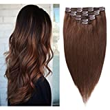 Remy Hair Extensions Human Hair Clip in 12 inches 80g Medium Brown #4