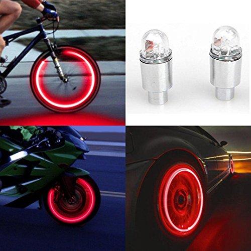 Vovotrade®-2pcs LED Reifen Ventil Vorbau Kappen Cap Neon leicht Auto Zubehör Fahrrad Auto Motorrad M rot