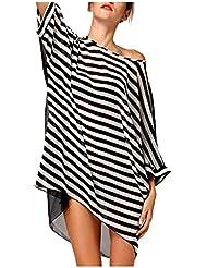 TININNA Moda Camiseta,Mujeres En V Manga Corta Rayas Blancas y Negras Transparente Bikini Cover Camiseta de manga larga En Trajes De Baño Vestido De Playa