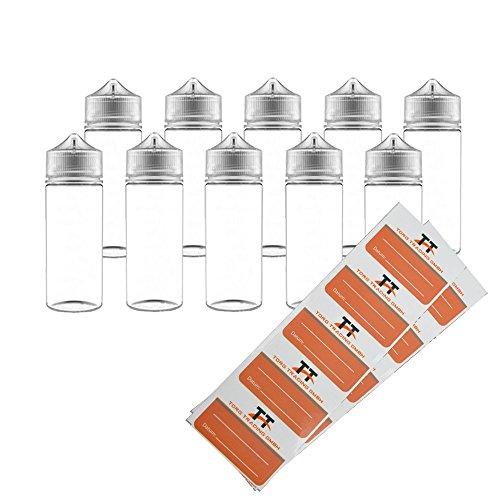 120-ml-flasche (Chubby Gorilla V3. 10 x 120ml PET Flaschen inkl. 10 TORG-Trading-Etiketten - Liquidflaschen, Unicorn Bottle, Stiftflaschen, Leerflaschen, Tropfflaschen, Dosierflaschen (transparent, 120ml))