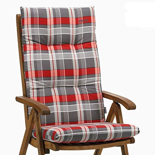 4 Kettler Auflagen für Hochlehner Dessin 769 Emma in rot-grau kariert ohne Sessel