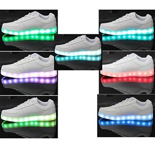[Présents:petite serviette]JUNGLEST® 7 Couleur Mode Unisexe Homme Femme USB Charge LED Lumière Lumineux Clignotants Chaussures de ma c25