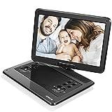 Tragbarer DVD-Player, APESIN 14,1 Schwenkbaren Bildschirm mit 6 Stunden Akku Drehbarem Display Unterstützt SD-Karte USB AV Out/in (Schwarz)