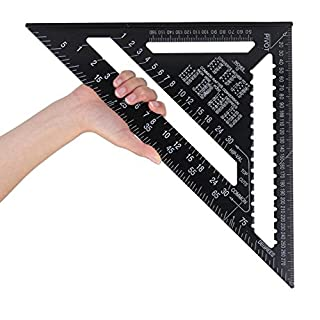 12inch Metric/British System Triangular Ruler Roofing Speed Square Protractor Double Scale Miter Framing Measurement Ruler Aluminum Alloy for Carpenter Woodworking Tools(Black)