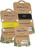 Parakito - PROTECTION ANTIMOUSTIQUE NATURELLE - KIT 2 x Para'kito BRACELET (Noir et Jaune) + 1 x Recharge Para'kito Pour BRACELET- NJ