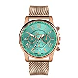 SO-buts Frauen Smartwatch,Lässige Analog Uhren, Armband Mit Edelstahl-Zifferblatt,Mode Dame Sport militärisch Watch,Luxus Quarz Uhr,Genfer Lederuhr ZA04-F (Grün)