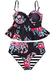 Fastar Traje de baño floral 2017 Bikini cómodo empujar hacia arriba
