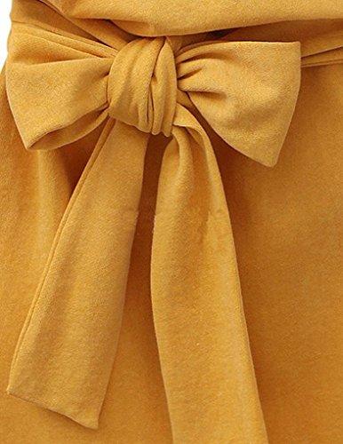 ... lose JOLLYCHIC Women's Short Sleeve Solid Color O-Neck Nice Kleid und  Schleife dekorieren, lose
