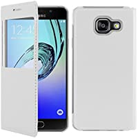 ebestStar - pour Samsung Galaxy A5 2016 A510F - Housse Coque Etui Slim Portefeuille avec Fenêtre View, Couleur Blanc [Dimensions PRECISES de votre appareil : 144.8 x 71 x 7.3 mm, écran 5.2'']