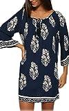 CRAVOG Damen sexy beiläufiges Strandklieder Sommer Kleid mit 3/4 Sleeve gedruckt Minikleid - EU 34/(Asian M)