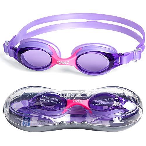 Copozz Kinder Schwimmbrille, Swim Schwimmbrille für Kinder Junior Jungen Mädchen - Alter 3 4 5 6 7 8 9 10 11 12 Jahre - Anti Nebel UV-Schutz kein Leck - Spiegel/Clear Lens (Purpurrot)