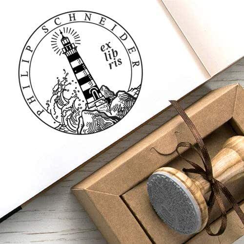 Ex libris Timbro Un Faro Luce nel Mare Kraft Carta Scatole Regalo