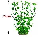Ari_Mao 24 cm Künstliche Aquarium Gras Pflanzen Ornament für Aquarium Landschaftsdekorationen (grün)