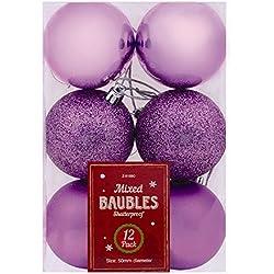 Albero di Natale Baubles molte misure e colori: rosso, argento, oro, viola, blu e rosa, violett, 12x Baubles 50mm