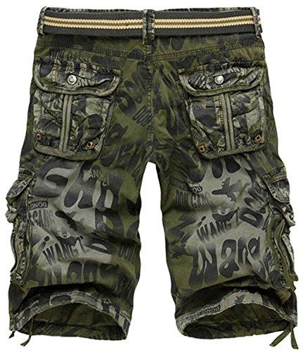 Mochoose Herren Sommer Casual Camouflage Baumwoll Twill Cargo Shorts Multi Taschen Outdoor Tragen Hosen Khaki