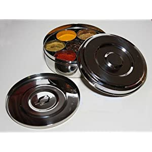 Neelam Stainless Steel Spice Tin/Masala Dabba (with Free Spoon) Best Quality On Line (No.11 18.5cm x 5.5cm) 1