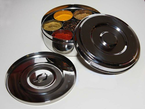 Neelam Stainless Steel Spice Tin/Masala Dabba (with Free Spoon) Best Quality On Line (No.10 16cm x 6cm) 1