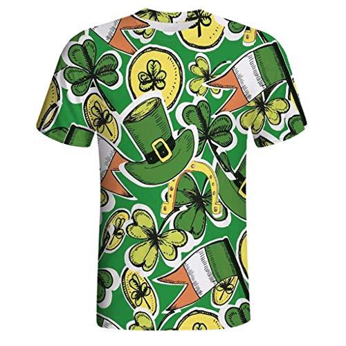Irland Männer Kostüm - Yumimi88 Männer 3D-Druck Lässige St. Patrick's Day Kurzarm-Shirt Top Bluse Träger Shirt Herren Irland Shirt Leprechaun Kostüm Patrick T Shirt (Grün, XXXXL)
