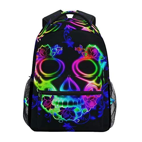 Schulrucksack Büchertasche Horror bunt Totenkopf Geist Halloween Rucksack Daypack Wasserdicht für Schule Reisen Mädchen Jungen Teenager
