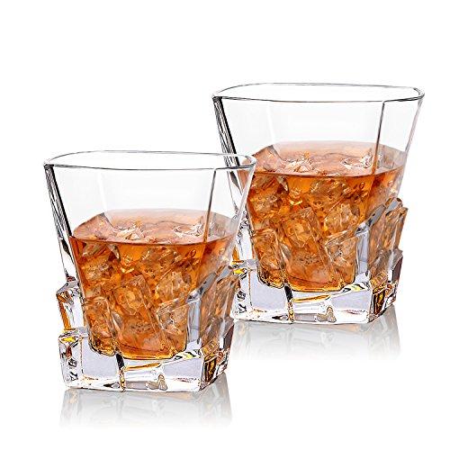 Cooko Iceberg Verres à Whisky, Transparents Verres à Boire,Accessoires de Vin Pour Whisky, Cocktail, Bourbon, Jus, 300ML Lot de 2 (10.6 oz)