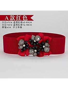 SILIU*Flores silvestres cintura elástica decorada femenina estirar suéter de lana vestidos amplias fajas de la...