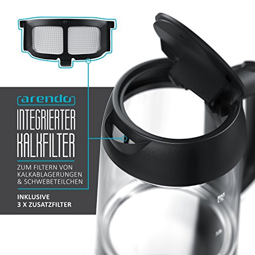 Arendo – Edelstahl-Glas-Wasserkocher inkl. LED-Innenbeleuchtung   Edelstahl-Glas-Optik   STRIX-Controller   integrierter Kalkfilter   1,7 Liter   2200 Watt   automatische Abschaltung   One-Touch-Verschluss - 5